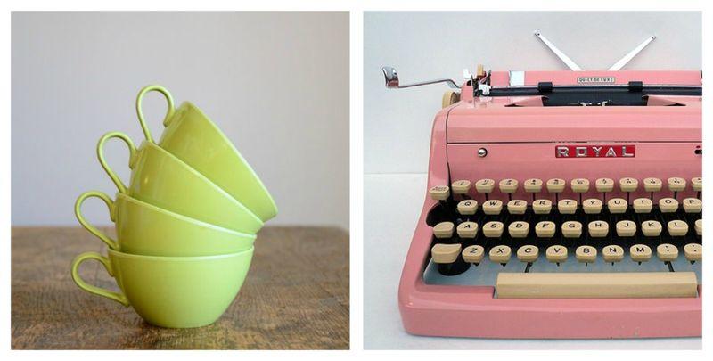 Vintage cups-typewriter
